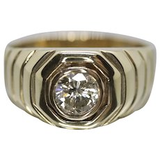 14k Mens Diamond Solitaire ring. 1.00 ct Diamond bezel set into ribbed band.