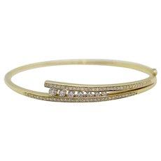Diamond Hinged Bangle Bracelet. 14k 1CT Diamond Bypass Hinged bangle bracelet 11.9gram