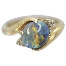 14k Opal and Diamond bypass ring. Round Cabochon OPAL prong set ring.
