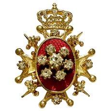 Vintage CORO Maltese Cross and Crown with Red Enamel/Rhinestone Brooch