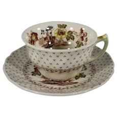 Royal Doulton Stoneware Cup and Saucer, Grantham Pattern, D5477