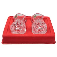 Mid century two vase - Lead glass 80s vases - Retro glass minimalist vases - Set of small vase France