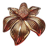Metal Brooche with Crystals - Large Flower Brooch - Bronze Silver Tone