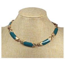 Enamelled blue necklace - Ladies choker necklace 1980s - Unique turquoise color choker