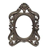 Mini photo frame 3'' x 3'' - Oval metal cast frame - Filigree memory photo frame
