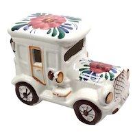 Retro Car Pottery - Original Retro Figurine - Ceramic Table Decoration - Figurine Motif Floral