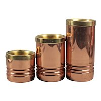 Set of metal candlesticks - Three copper tone candle holders - Round candlesticks