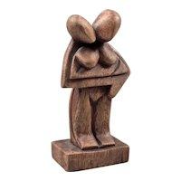 Wood carved figure - Lovers figurine - Small wooden figurine