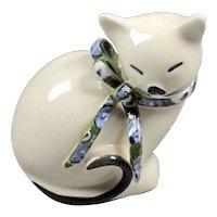 Sleeping cat figure pottery - White cute cat - Table cat figurine