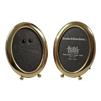 Pair solid brass oval photo frames - Little oval 3.5'' x 5'' photos - Vintage England photo frames