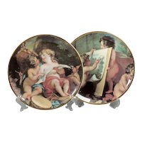Two small decorative plates - Religious image cherub - Beautiful plate angels in pictures - Religious home decor