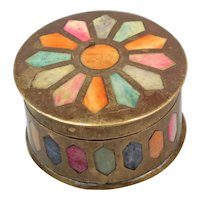 Round Brass Box - Treasure Box - Old Box India - Metal Box for Tobacco - Box with Rainbow Mosaic - Jewelry Box