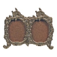 Vintage double photo frame - Oval bronze frames vintage - Table photo mini frame - Old bronze photo frame