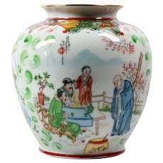 Round jar vase flowers - Round vase ceramic - Marks art nouveau vase - Chinoiserie vase