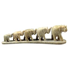 Carving stone figurine - Elephants figurine of green onyx - Green calming healing statue elephants - Family African elephants of natural stone