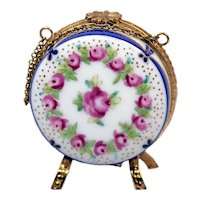 White Jewelry Box - Round Porcelain Box - Engagement Box - England Box Hand-Painted - Bag Box Ring
