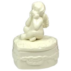 Engagement Small Jewelry Box - Wedding Ring Box - Table Box with Angel - Heart Jewelry Memory Box - Porcelain White Box