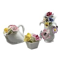 Set Mini Figurines with Flowers - Serving Pieces Minifigures - Germany Bone China - Flowers Bouquet Pottery