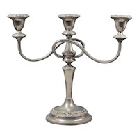 English Silverplate Candlesticks - Vintage Candle Holder -  English Sheffield Silver Plate 3 Arm