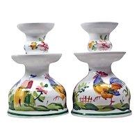 Set White Candle Holder - Hand Painted Candlestick - Farmhouse Style - Italian Ceramic Candlesticks