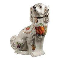 England Pottery Dog - Vintage Figurine Spaniel Dog - Fruit Motif' Rare & Unusual