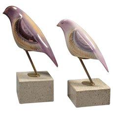 Pink Birds Figurines - Canary Bird Statuary - Elegant Rose Gold Color Birds - Spain Galos Porcelain
