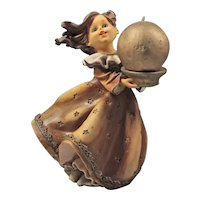 English Candlesticks - Girl Figurine - Solid Plastic Candlestick - Brown Gold Candle Holder