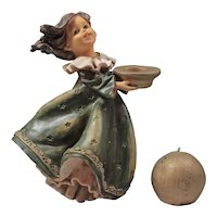 English Candlesticks - Girl Figurine - Solid Plastic Candlestick - Green Gold Candle Holder