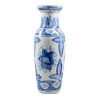 Blue White Pottery Vase - Chinese Vase - Oriental Vase - Flowers Vase - Floral Ornament Vase