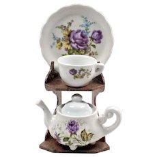 Pottery Figurines - Purple and White Pottery - Tea Set of England - Decorative Teapot - Tableware for Dollhouse - Miniature Tea Set