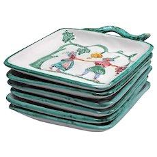 Folk Art Pottery Italy - 6 Square Plates Set - Handmade Plates