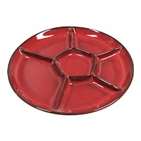 Set of 2 BBQ or Fondue Plates - Red Plates Pottery - Round Divided Plates - Ceramic France