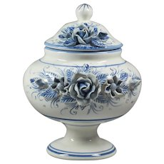 Pottery Italy - Handmade Vase - Hand Painted Vase - Blue White Vase - Vase with Flowers - White Bowl with Lid - Candy Bowl