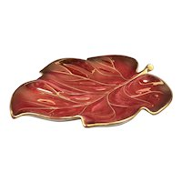 England Pottery - Carlton Rouge Royale Porcelain - Red Gold Dish - Leaf Pottery Plate