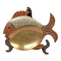 Jewelry Box - Jewelry Holder - Brass Fish Cloisonne Plate - Decorative Plate