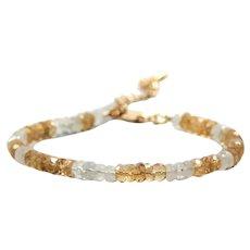 Gold-filled Bracelet Natural Gemstone - Bracelet of Genuine Citrine of India - Bracelet of Fairy Moonstone - Adjustable Thin Bracelet - Bohemia Jewelry
