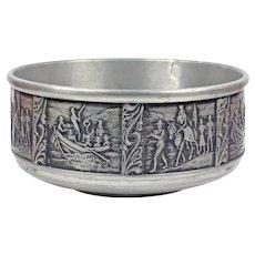Round Scandinavian Bowl Metal - Viking Pewter Candy Bowl - Vintage Scandinavian Vase Norway Decor