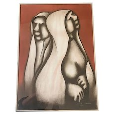 """Original Art: Two Ladies signed David Mbele, Charcoal & Pastel on Paper, Professionally Framed, 17"""" W x 23 3/4"""" H"""