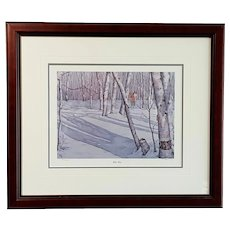 """Limited Edition Giclee Print: Winter Birch, signed T. Fuhr - #86/240, 18"""" H x 21"""" W"""