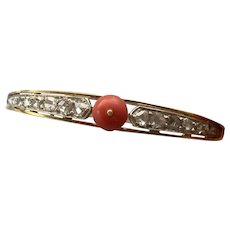 Articulated Victorian Silver Topped 18k Gold, Diamond Natural Untreated Mediterranean Coral Bangle Bracelet
