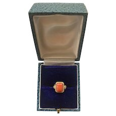 Antique Natural Mediterranean Coral 14k Yellow Gold Ring - Size 5