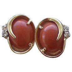 Omega Back Solid 14k Gold Natural Coral Earrings