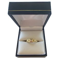 Bezel Set Diamond Solid 14k Gold Ring - Size 5 1/2
