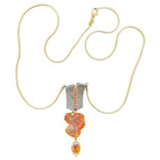 Mexican Fire Opal & Orange Ceylon Sapphire Pendant Necklace