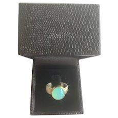 Glowing Peruvian Opal Sterling Silver & 18k Yellow Gold Ring - Size 5 3/4