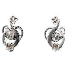 Elegant 18k Gold & Rose Cut Diamond 1940s Earrings