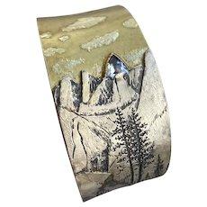 Engraved Nature Scene Argentium Cuff - 1 Carat Trillion Cut Benitoite