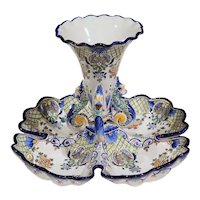 Early 20th Century French Hand-Painted Faience Dish with Center Vase from Nevers