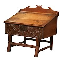 18th Century French Carved Walnut Desk on Legs with Slant Top and Inside Storage