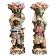 Pair of 19th Century French Hand-Painted Barbotine Rococo Vases